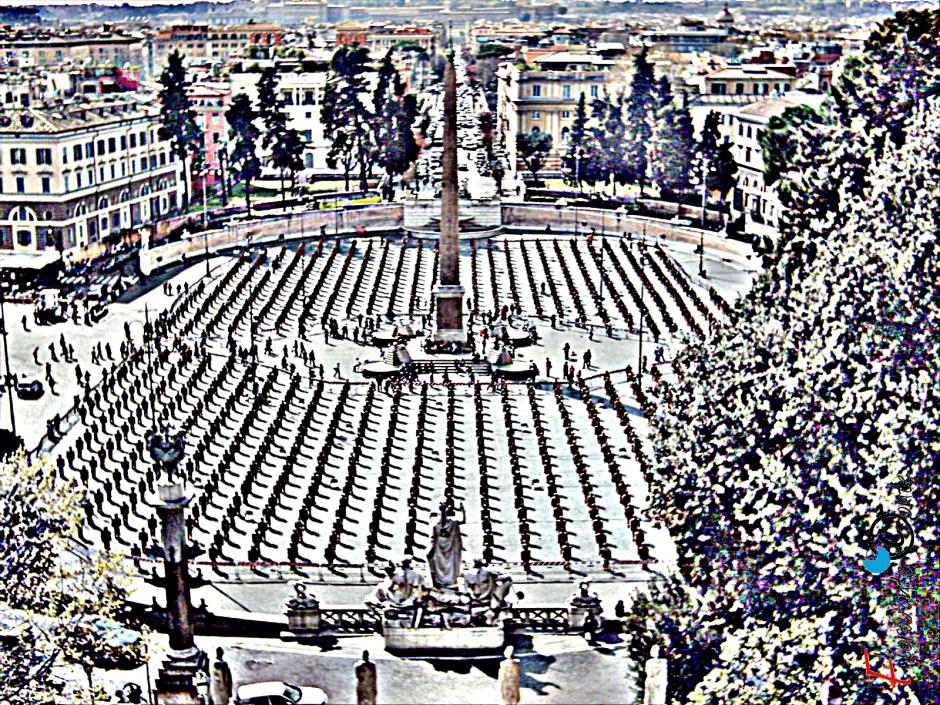 L'esercito di Ha Schult in Piazza del Popolo